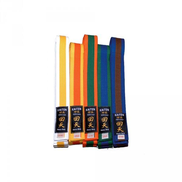 Kaiten Farbgurte 2-farbig Gelb-Orange (Gelb in dunklerem Farbton)