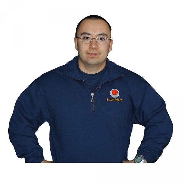 Zip-Neck Shirt mit Bestickung