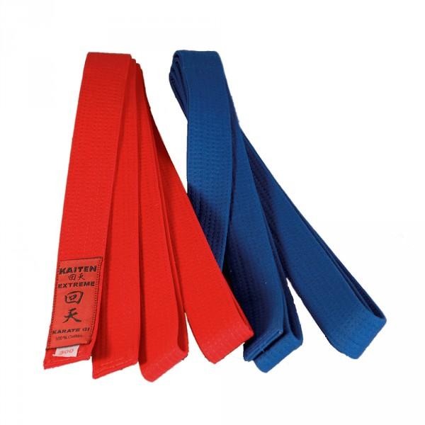 Kaiten Wettkampfgurte Blau mit Extreme-Label (alte Version WK-Gürtel)